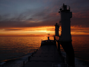 Sunset on the Mediteranian sea as seen on board of the vessel Atlantic without cargo.