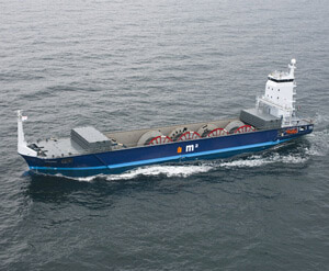 The mv Oceanic transporting cable reels for an offshore company.