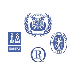 The logos of IMO, Bureau Veritas, LLoyds etc.
